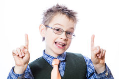 Cute kid pointing up Stock Image