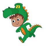 Cute kid put up a dragon costume in halloween party. Royalty Free Stock Photography