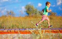 Cute kid running the field Royalty Free Stock Image