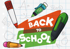 Cute Kid's Drawing in a Paper for Back to School Season, Vector Illustration Stock Photo