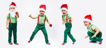 Cute kid santa claus in motion Stock Photography