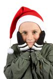Cute kid with Santa hat Royalty Free Stock Image