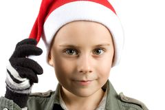 Cute kid with Santa hat Royalty Free Stock Photos