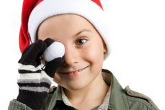 Cute kid with Santa hat Stock Photos
