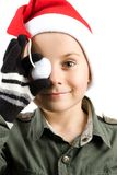 Cute kid with Santa hat Royalty Free Stock Photography