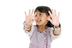 Cute kid showing her palms Royalty Free Stock Photos