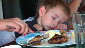 Cute kid sleeping at the table 01 Stock Photography