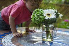 Cute kid smelling flowers. Cute little boy smelling flowers on the table Stock Photo