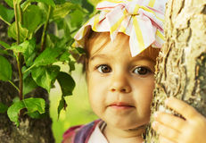 Cute kid is smiling in sunny summer day Royalty Free Stock Photography