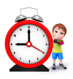Cute kid with table clock Royalty Free Stock Photos