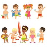 Cute Kid Toons On The Beach Seaside. Kids that are performing various activities on the beach. One of them is wearing flippers and about to go for a swim Royalty Free Stock Photo