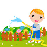Cute kid watering flower Royalty Free Stock Photography