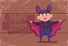 Cute Kid Wear Bat Costume, Happy Halloween Banner Party Celebration Concept. Flat Vector Illustration Stock Photography