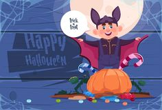 Cute Kid Wear Bat Costume, Happy Halloween Banner Party Celebration Concept. Flat Vector Illustration Stock Image
