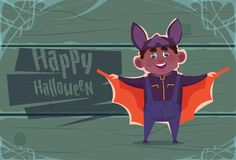 Cute Kid Wear Bat Costume, Happy Halloween Banner Party Celebration Concept. Flat Vector Illustration Royalty Free Stock Photography