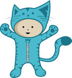 Cute kid wear cat custom. Cute cheerful kid  illustration Stock Photo