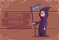 Cute Kid Wear Death Costume, Happy Halloween Banner Party Celebration Concept. Flat Vector Illustration Stock Photo