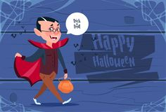 Cute Kid Wear Dracula Costume, Happy Halloween Banner Party Celebration Concept. Flat Vector Illustration Royalty Free Stock Image