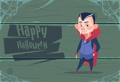 Cute Kid Wear Dracula Costume, Happy Halloween Banner Party Celebration Concept. Flat Vector Illustration Royalty Free Stock Images