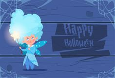 Cute Kid Wear Fairy Costume, Happy Halloween Banner Party Celebration Concept. Flat Vector Illustration Stock Images