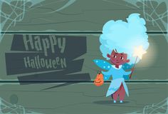 Cute Kid Wear Fairy Costume, Happy Halloween Banner Party Celebration Concept. Flat Vector Illustration Royalty Free Stock Images