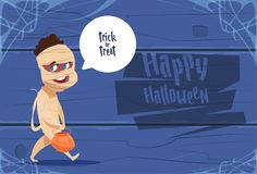 Cute Kid Wear Mummy Costume, Happy Halloween Banner Party Celebration Concept. Flat Vector Illustration Stock Photos