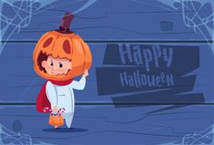 Cute Kid Wear Scarecrow Costume Jack Lantern Happy Halloween Banner Party Celebration Concept. Flat Vector Illustration Royalty Free Stock Image