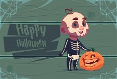 Cute Kid Wear Skull Costume, Happy Halloween Banner Party Celebration Concept. Flat Vector Illustration Stock Photos