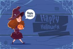 Cute Kid Wear Witch Costume, Happy Halloween Banner Party Celebration Concept. Flat Vector Illustration Stock Photography