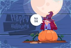 Cute Kid Wear Witch Costume Sit On Pumpkin, Happy Halloween Banner. Cute Kid Wear Witch Costume Sit On Pumpkin, Happy Halloween Banner Party Celebration Stock Photo