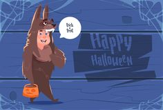Cute Kid Wear Wolf Costume, Happy Halloween Banner Party Celebration Concept. Flat Vector Illustration Stock Photography