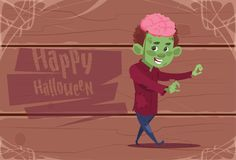 Cute Kid Wear Zombie Costume, Happy Halloween Banner Party Celebration Concept. Flat Vector Illustration Stock Images