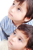 Cute kids. Cute kid eyes look face expression up Stock Photography