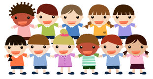 Cute kids. Illustration of a large group of colorfully dressed, ethnically diverse children Stock Photography