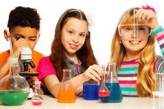 Cute Kids And Chemistry Royalty Free Stock Photography