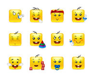 Cute kids anime smilies. Funny and beautiful square anime smiles kids boy and girl Royalty Free Stock Image