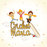 Cute kids with bat and ball for Cricket. Stock Photo