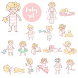 Cute kids in bathing suits royalty free illustration