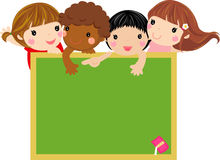 Cute kids with blackboard. Illustration Royalty Free Stock Image