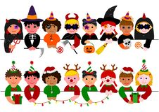 Cute kids border set, with Halloween costumes and with Christmas costumes.  stock illustration