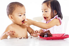 Cute Kids With Cake Stock Photo