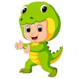 Cute kids cartoon wearing crocodile costume. Illustration of Cute kids cartoon wearing crocodile costume vector illustration