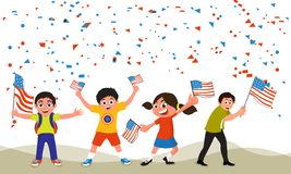 Cute kids celebrating American Independence Day. Cute little kids waving American Flags on falling confetti background for 4th of July, Independence Day Royalty Free Stock Photo