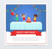 Cute kids celebrating birthday with cake, happy birthday banner flat vector element for website or mobile app. With sample text Royalty Free Stock Images