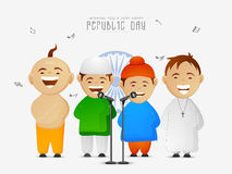 Cute kids celebrating Indian Republic Day. Royalty Free Stock Photo