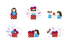 Cute kids with celebration day, surprise collection party set, c vector illustration