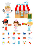 Cute Kids Chef,Kids Cooking, Children Cooking, Children chef cute, kids in a chef`s hat,chef`s cooking, costume of chef for kids, Stock Image