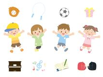 Kids jumping vector illustration