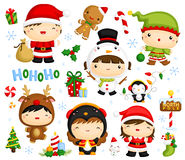 Cute Kids in Christmas Costume Vector Set Stock Photography