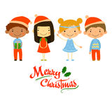 Cute kids and Christmas elements vector Royalty Free Stock Images